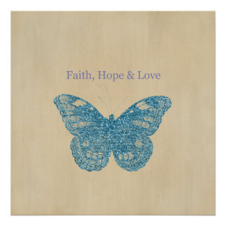 Glittery Butterfly Poster