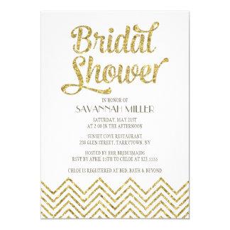 Glittery Chevron | Bridal Shower Invitation