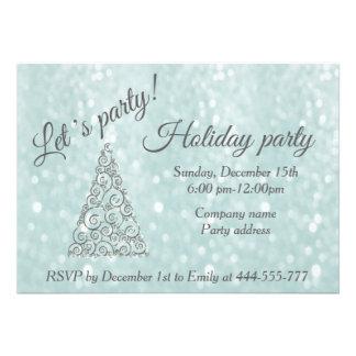"Glittery Christmas tree corporate holiday party 5"" X 7"" Invitation Card"