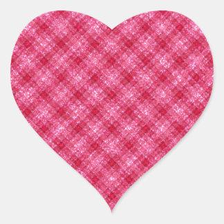 Glittery Deep Pink Gingham Plaid Heart Sticker