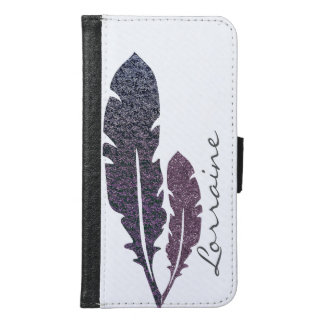 Glittery Feathers Samsung Galaxy S6 Wallet Case
