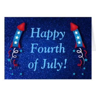 Glittery Fireworks Rocket 4th of July Card