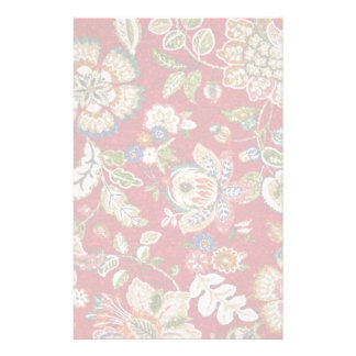 Glittery Floral Tapestry on Red Stationery