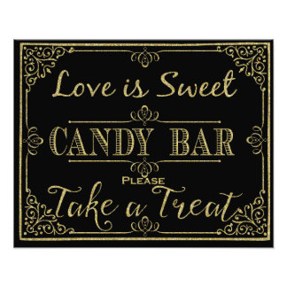 glittery gold and black candy bar wedding sign photo