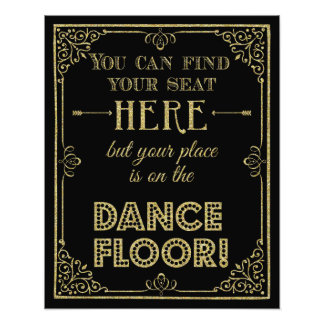 glittery gold and black dance floor wedding sign