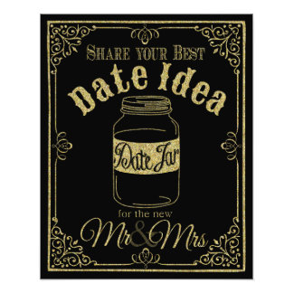 glittery gold and black date jar wedding sign art photo