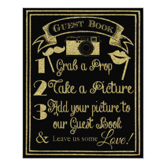 glittery gold and black photo booth wedding sign