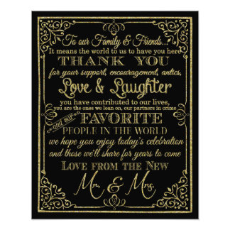 glittery gold and black thank you wedding sign