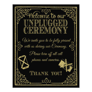 glittery gold and black unplugged wedding sign photographic print
