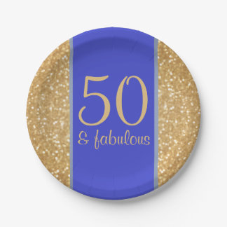 Glittery Gold and Blue 50 & Fabulous 50th Birthday Paper Plate