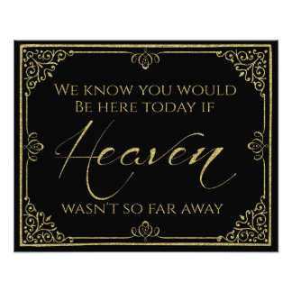 glittery gold black heaven memorial wedding sign