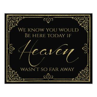 glittery gold black heaven memorial wedding sign art photo