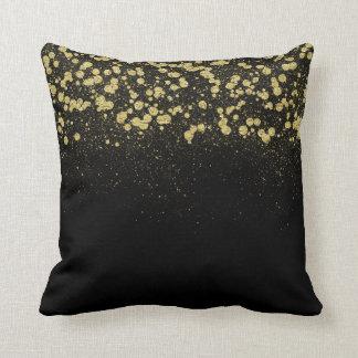 Glittery Gold Confetti Throw Pillow