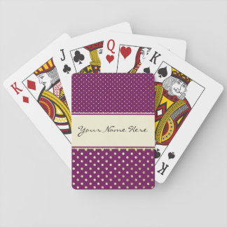 Glittery Gold Polka Dots on Fancy Purple Playing Cards