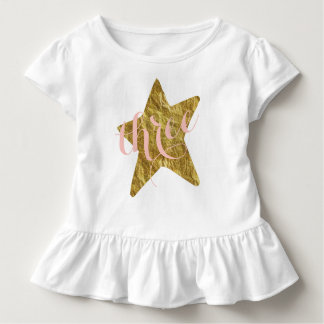 Glittery Gold Star Girl's Birthday Shirt