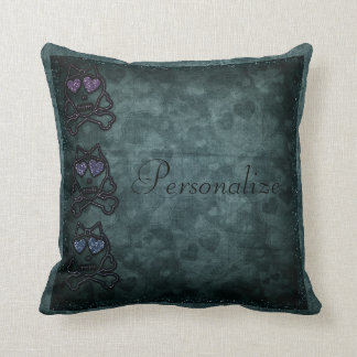 Glittery Gothic Skulls Personalized Throw Pillow