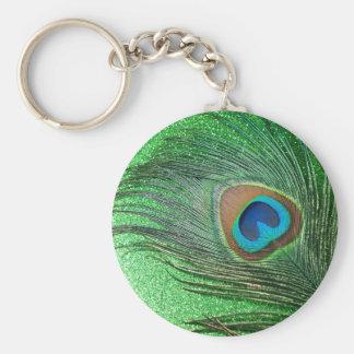 Glittery Green Peacock Feather Still Life Keychain