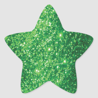 Glittery Green Star Sticker