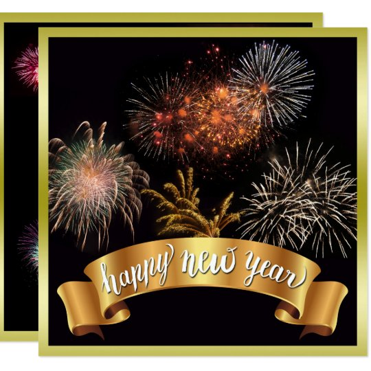 Glittery Happy New Year & Fireworks New Year's Eve Card