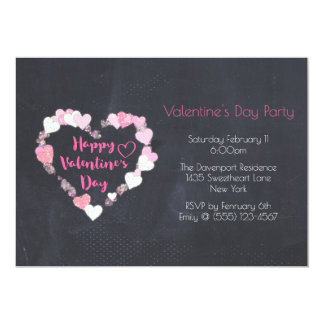 Glittery Hearts in Pink Valentine's Day Party Card