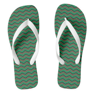 Glittery Holiday Zigzags Flip Flops