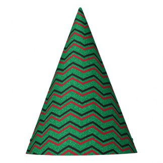 Glittery Holiday Zigzags Party Hat
