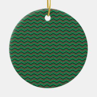 Glittery Holiday Zigzags Round Ceramic Ornament