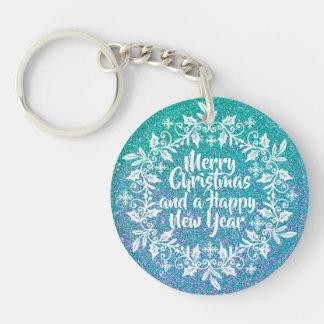 Glittery Merry Christmas  |  Keychain