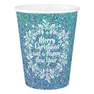 Glittery Merry Christmas   Paper Cups