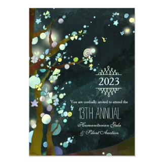 """Glittery Night Charity Gala and Auction 5"""" X 7"""" Invitation Card"""