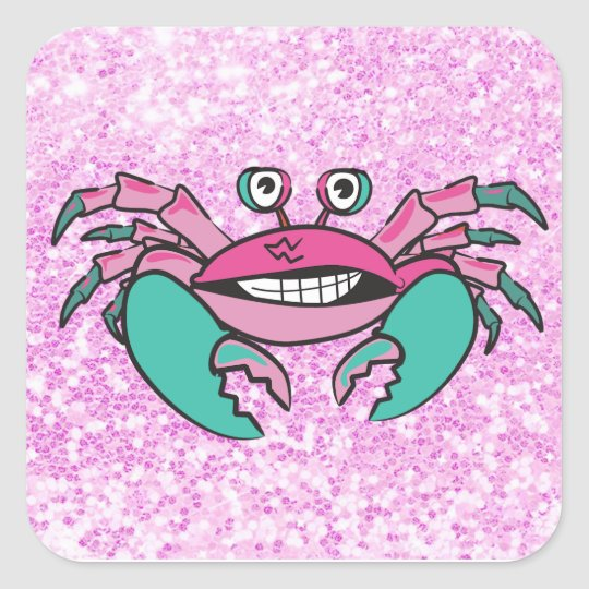 Glittery Pink and Teal Crab Sticker