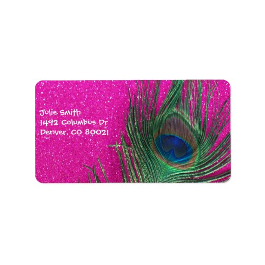Glittery Pink Peacock Feather Label