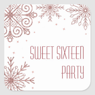 Glittery Pink Snowflakes Sweet Sixteen Birthday Square Sticker
