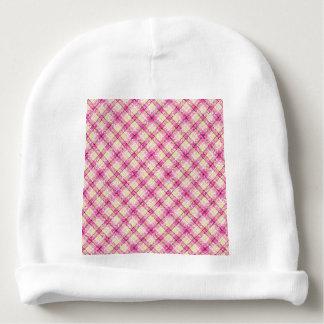 Glittery Pink & Yellow Plaid Baby Beanie