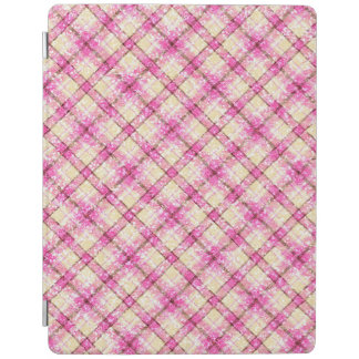 Glittery Pink & Yellow Plaid iPad Cover