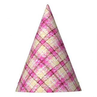Glittery Pink & Yellow Plaid Party Hat