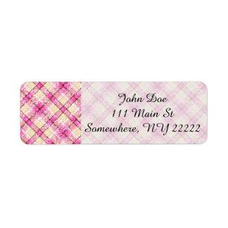 Glittery Pink & Yellow Plaid Return Address Label