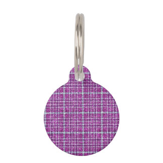 Glittery Purple Awareness Plaid Pet ID Tags