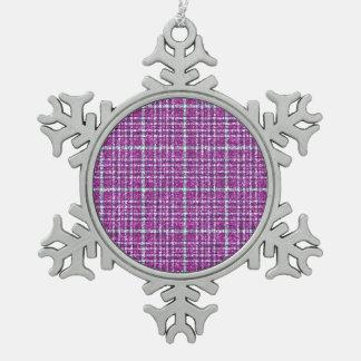 Glittery Purple Awareness Plaid Pewter Snowflake Ornament