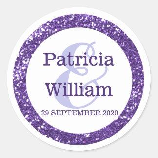 Glittery Purple Glitter Wedding Names Round Sticker