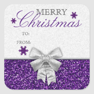 Glittery Purple/Silver Snowflakes Gift Tag