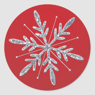 Glittery Red and Silver Snowflake Sticker