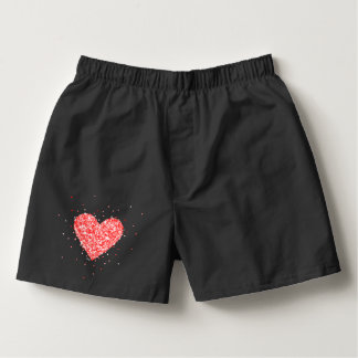 Glittery Red Heart Illustration Boxers