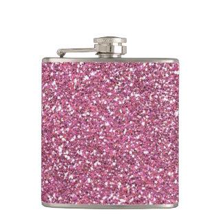 Glittery Shiny Pink Glitters Hip Flask