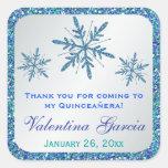 Glittery Silver Aqua Blue Green Snowflakes Sticker