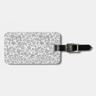 Glittery Silver Floral on White Luggage Tag