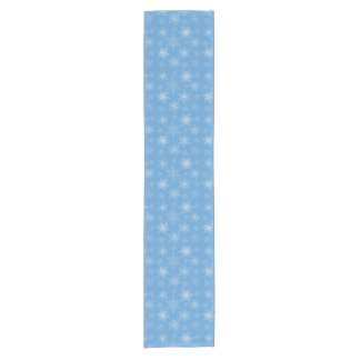 Glittery Snowflakes with Blue Background Short Table Runner
