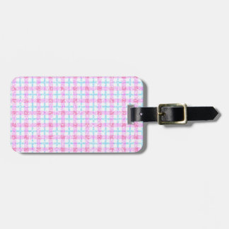 Glittery Tartan Plaid in Pink & Blue Luggage Tag