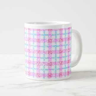 Glittery Tartan Plaid in Pink & Blue Jumbo Mug