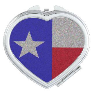 Glittery Texas Flag Travel Mirror